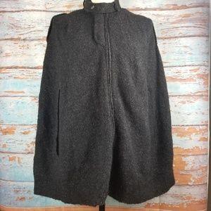 bcbgmaxazria black cape poncho knit sweater sz M